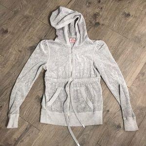 Juicy Couture Gray Velour Full Zip Hoodie Jacket